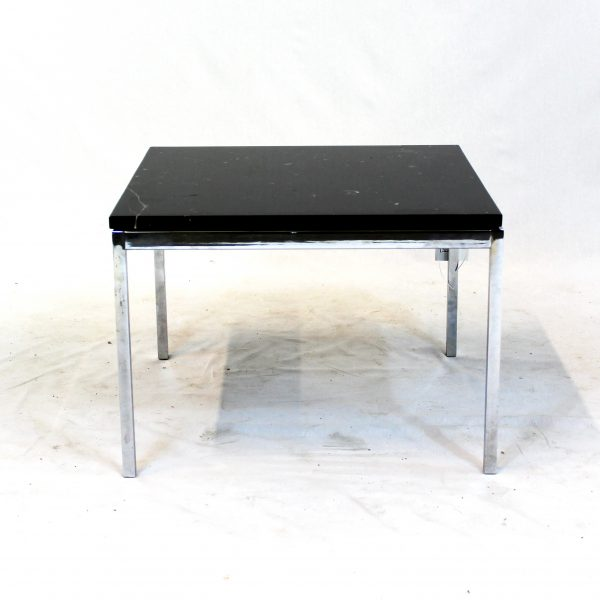 Florence Knoll-Style Side Table with Black Marble Top