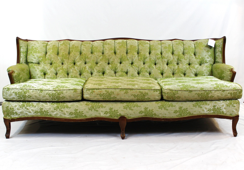 Hollywood Regency Green Tufted Sofa