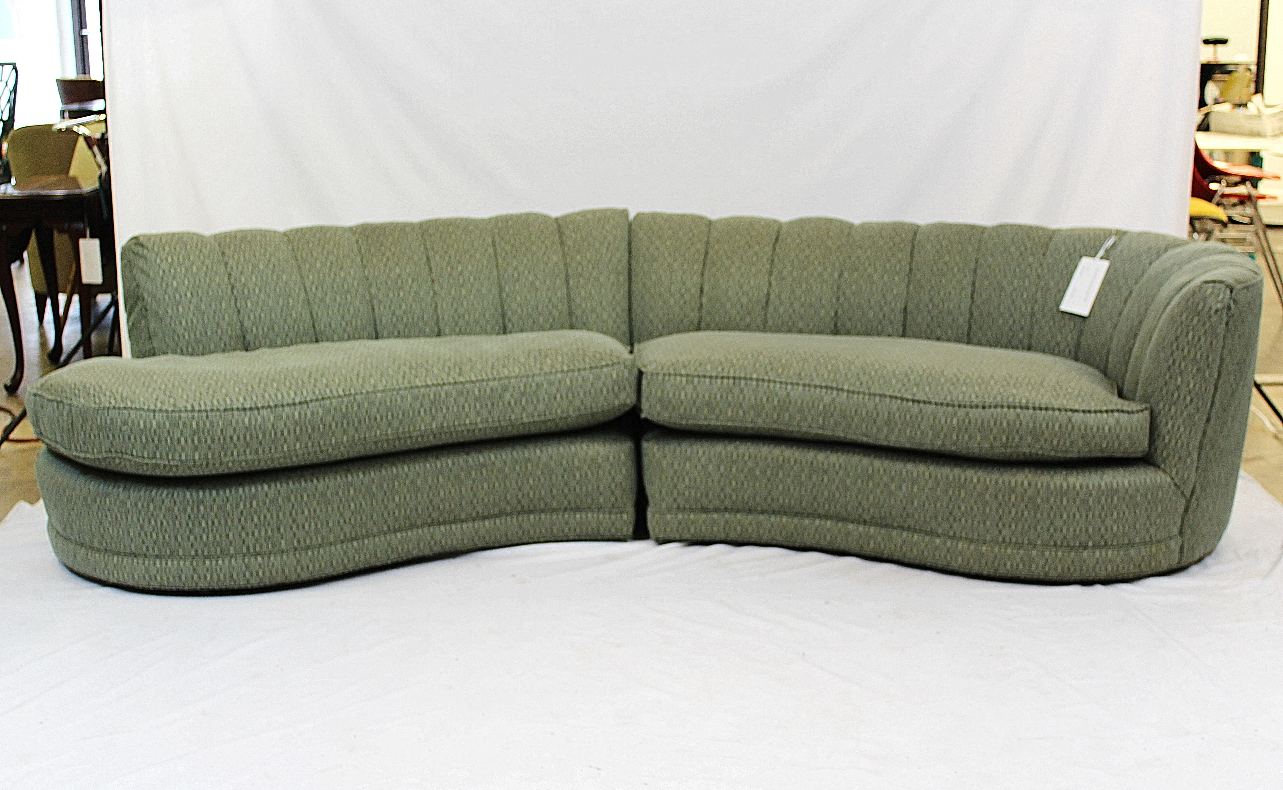 Hollywood Regency Crescent Shaped Sofa With Knoll Fabric