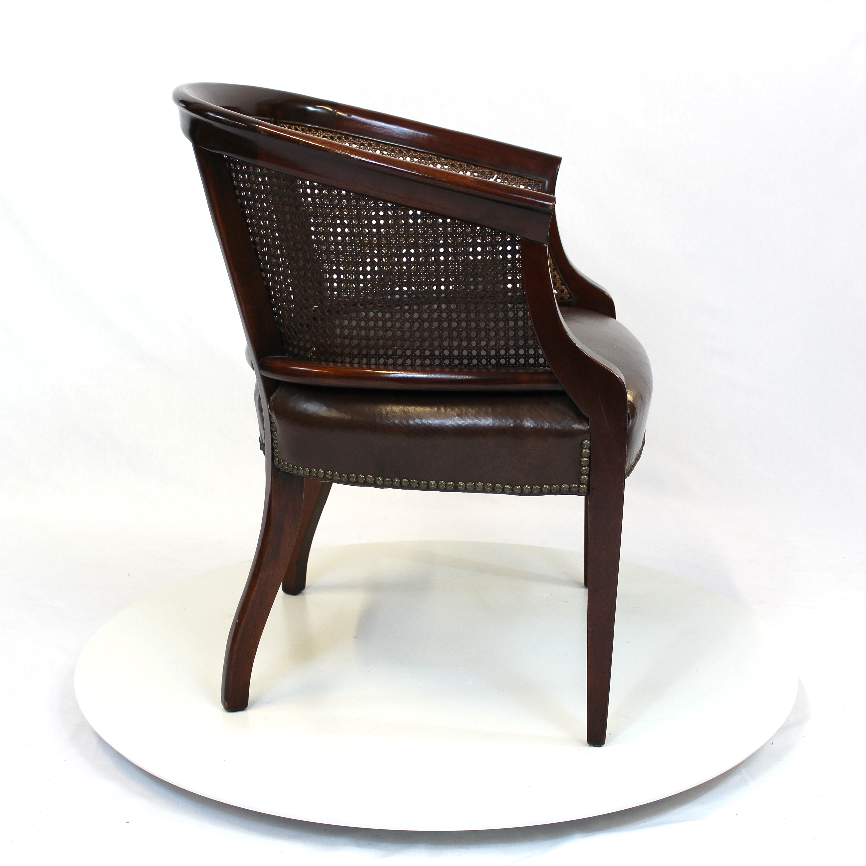 Hollywood Regency Rattan Back Barrel Chair With Leather