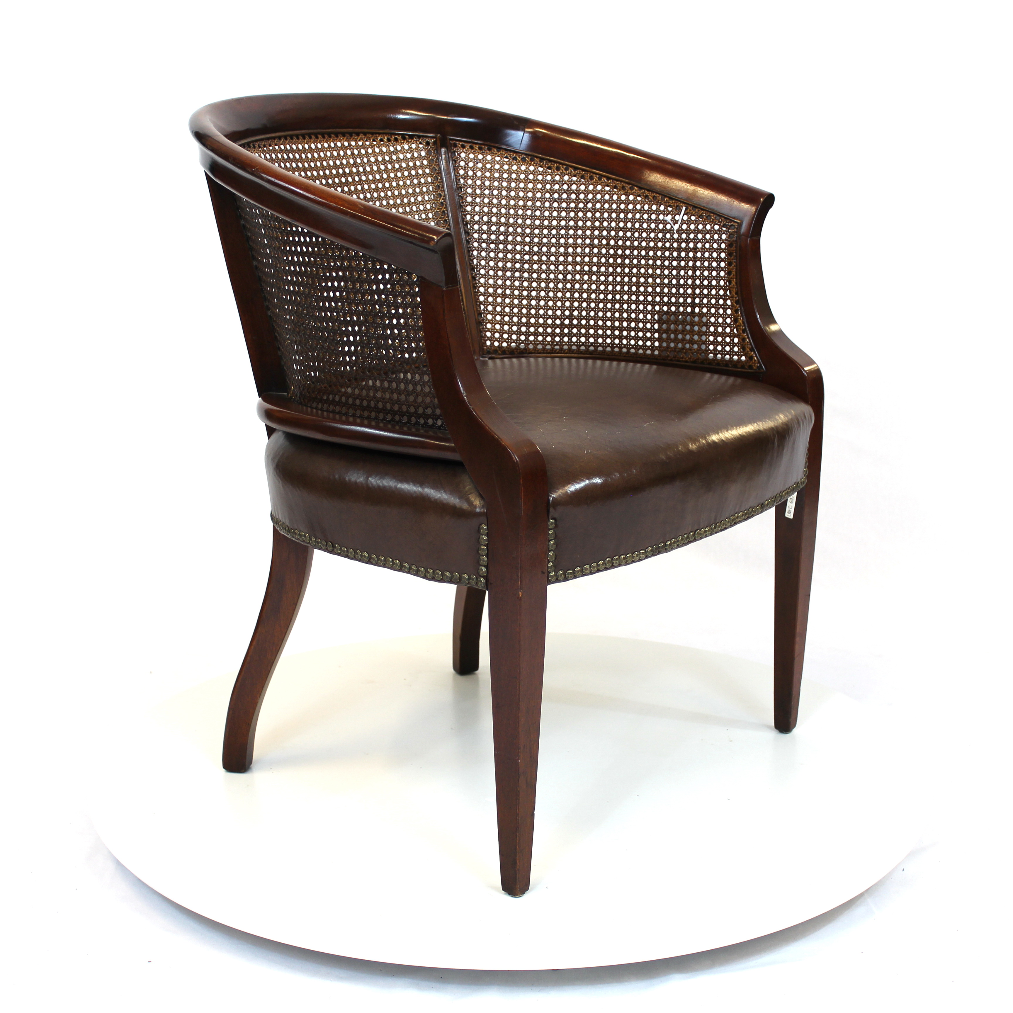 ... Hollywood Regency Rattan Back Barrel Chair With Leather Seat ...