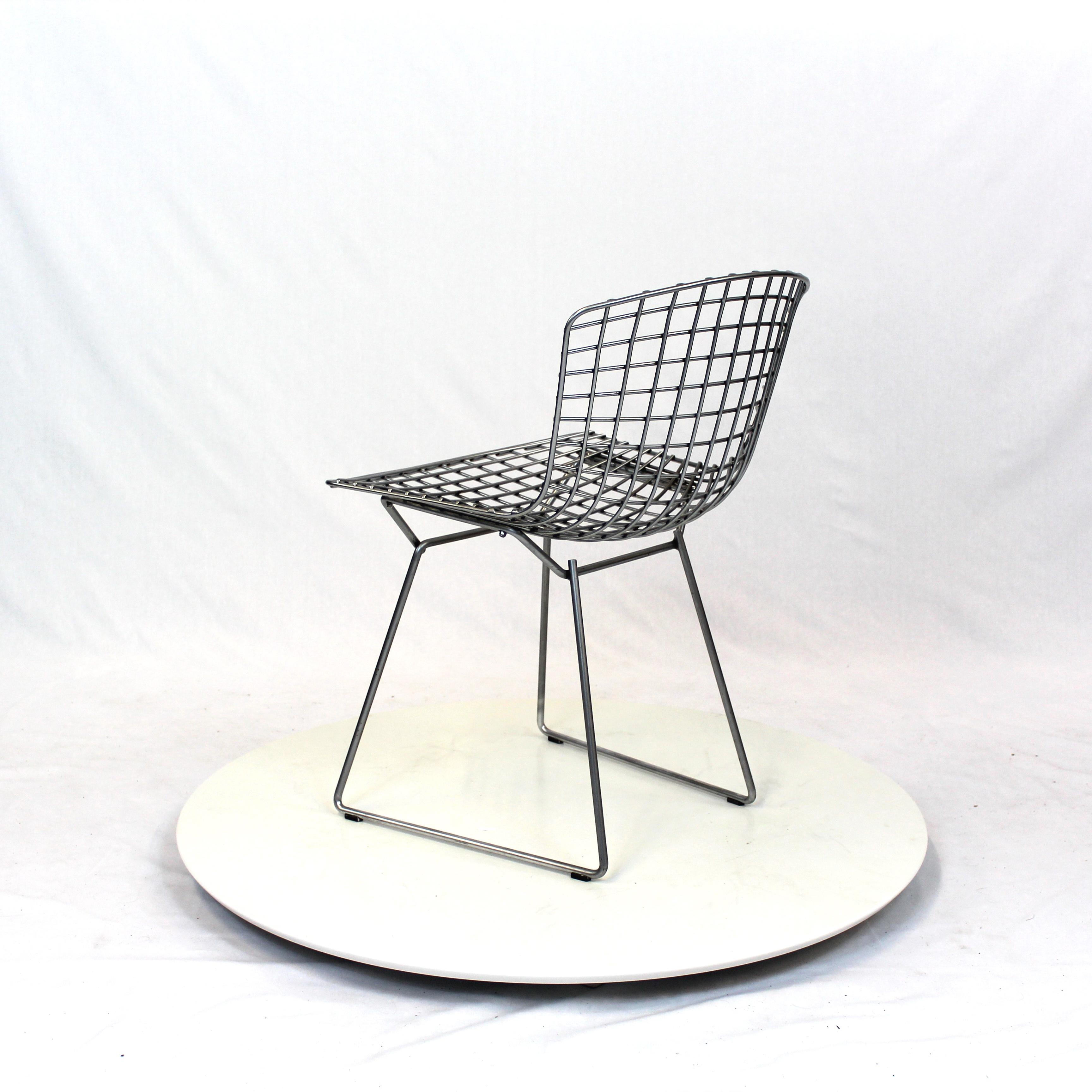 harry bertoia modern chrome plated dining chair