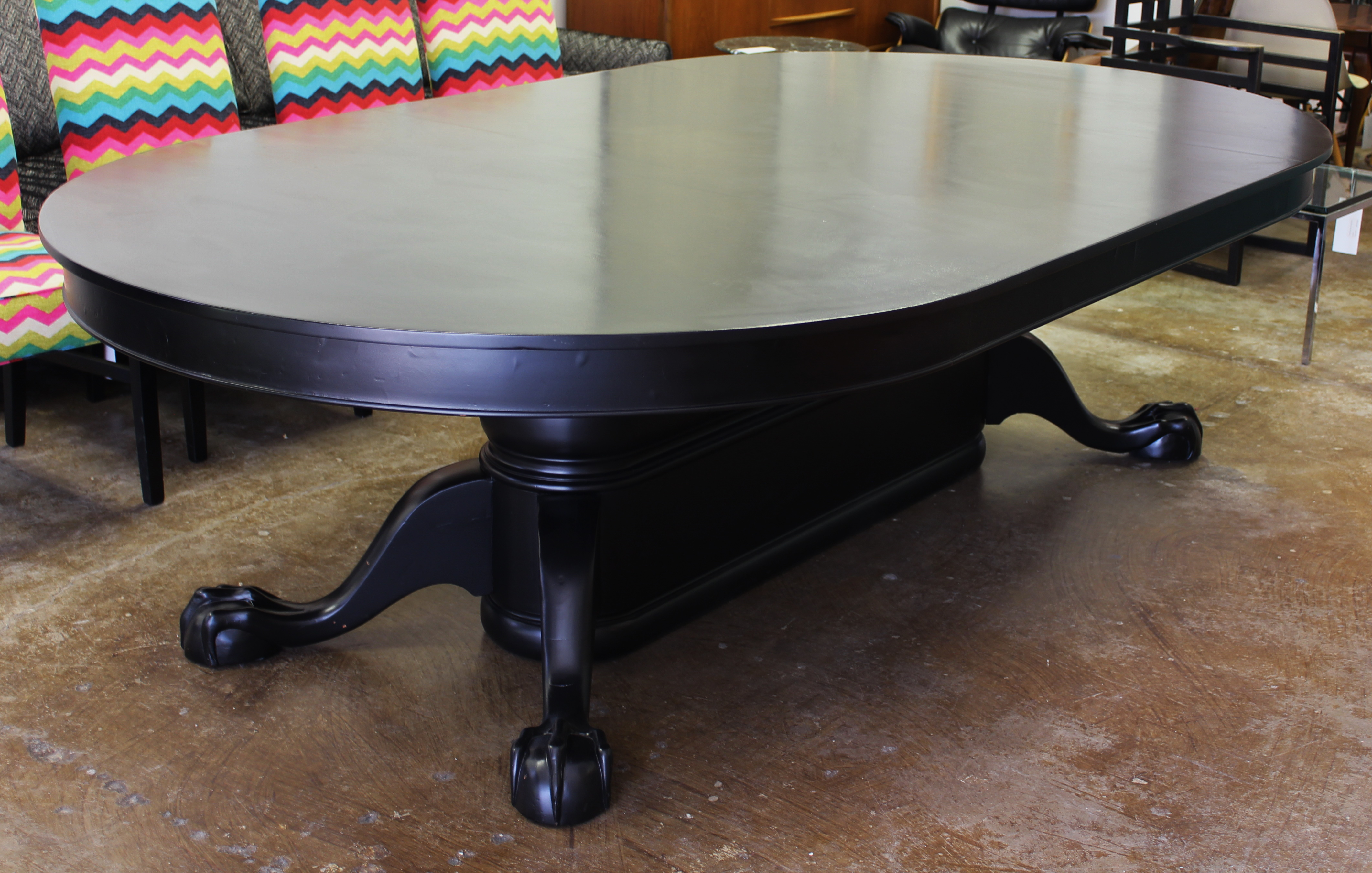 Ebony Stained Clawfoot Dining Table Furniture Basix