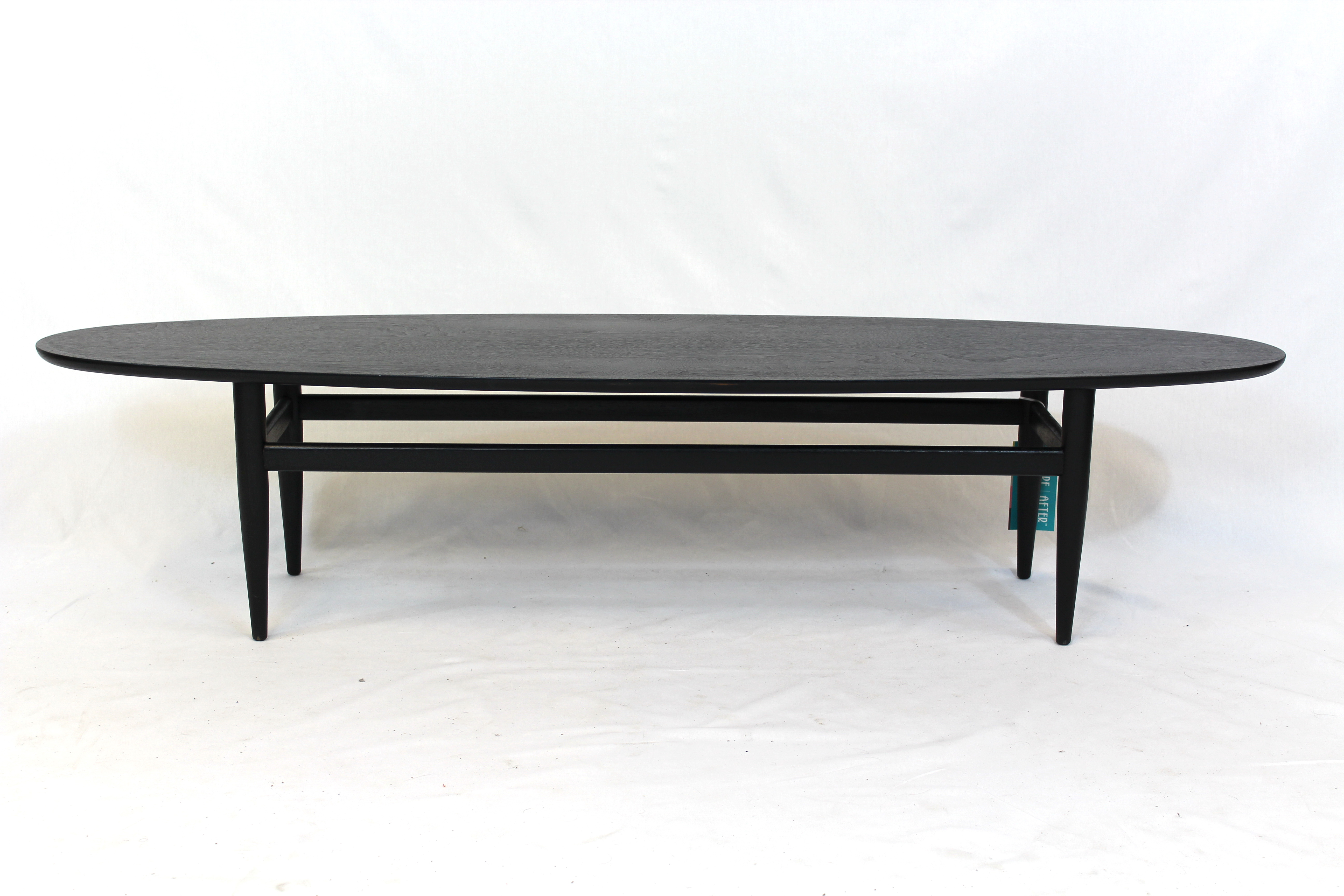 Eames style surfboard ebony stained coffee table for Eames style coffee table