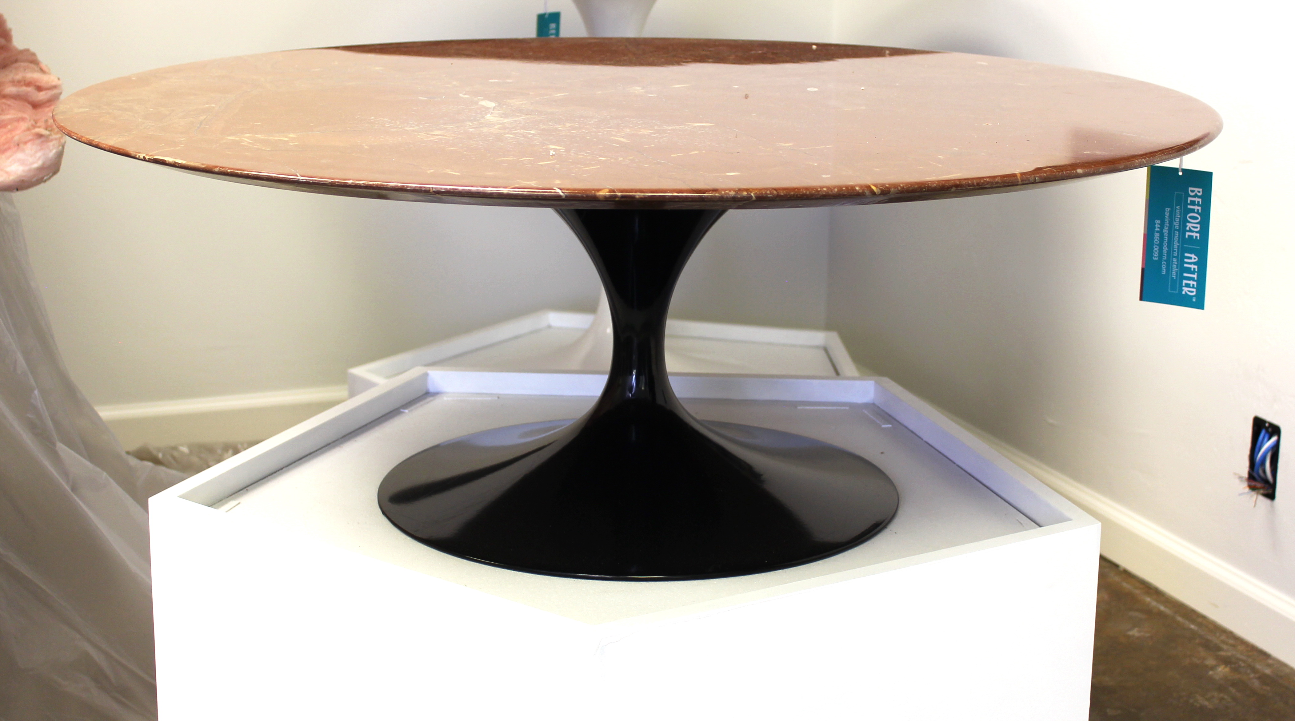 eero saarinen coffee table pink marble top and black tulip base furniture basix. Black Bedroom Furniture Sets. Home Design Ideas